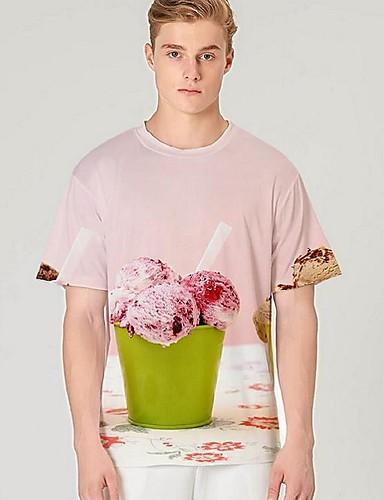 voordelige Heren T-shirts & tanktops-Heren Street chic / overdreven Print T-shirt Kleurenblok / 3D / Grafisch Blozend Roze