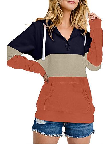 povoljno Ženske majice-Žene Color block Dugih rukava Pullover, Izrez s naborima Jesen purpurna boja / Blushing Pink / žuta S / M / L
