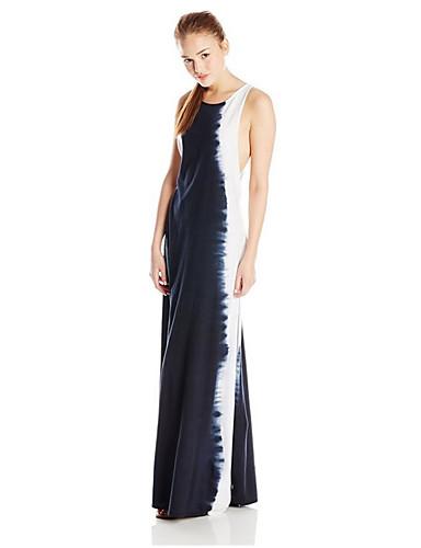 voordelige Maxi-jurken-Dames Standaard Schede Jurk - Geometrisch, Print Maxi Zwart & Wit