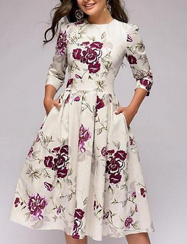 billige Kjoler-Dame Gatemote Elegant A-linje Kjole - Blomstret, Flettet Knelang