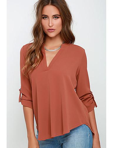 Χαμηλού Κόστους Γυναικείες Μπλούζες-Γυναικεία Μπλούζα Μονόχρωμο Πορτοκαλί