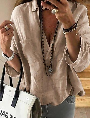 billige Topper til damer-Skjorte Dame - Ensfarget Lyseblå