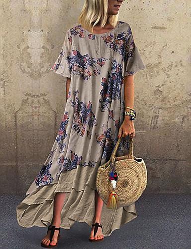 hesapli Maksi Elbiseler-Kadın's Şifon Elbise - Zıt Renkli, Desen Maksi