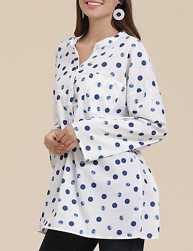 billige Dametopper-Skjorte Dame - Polkadotter, Trykt mønster Forretning / Vintage Blå Hvit