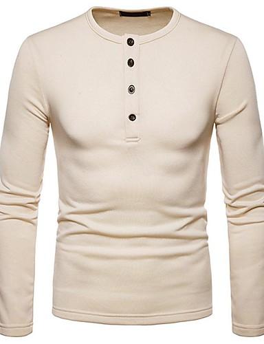 voordelige Heren T-shirts & tanktops-Heren Standaard / Elegant T-shirt Effen Zwart