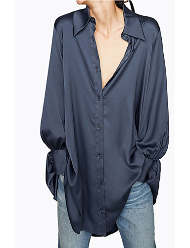 povoljno Majica-Majica Žene - Osnovni / Elegantno Dnevno / Vikend Jednobojni Navy Plava
