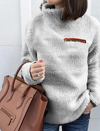 povoljno Ženske majice-Žene Jednobojni Dugih rukava Pullover, Dolčevita Crn / Lila-roza / Svijetlosiva S / M / L