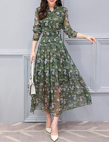 voordelige Maxi-jurken-Dames Elegant Chiffon Jurk - Bloemen, Print Maxi