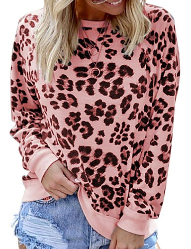 billige Dametopper-T-skjorte Dame - Leopard Rosa