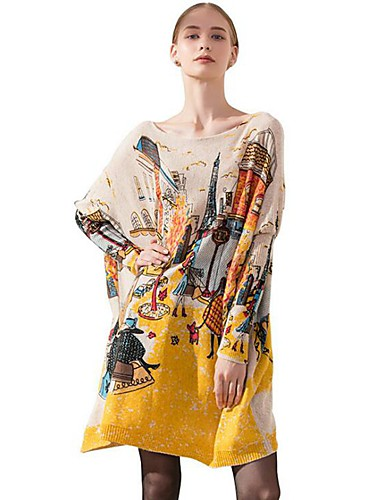 billige Dametopper-Dame Geometrisk / Fargeblokk / Abstrakt Langermet Pullover, Løse skuldre Lyseblå / Hvit / Brun En Størrelse
