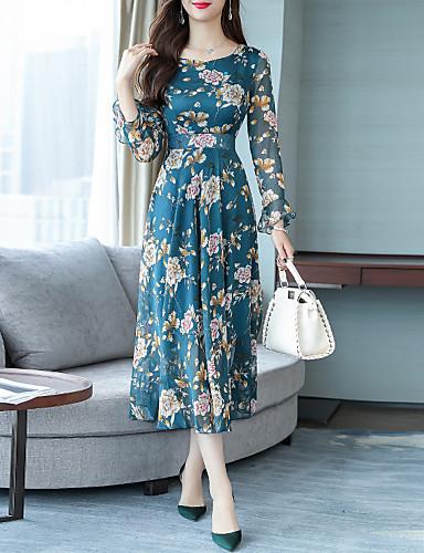 abordables Robes Femme-Femme Elégant Maxi Trapèze Robe - A Volants Imprimé, Fleur Noir Rose Claire Bleu S M L Manches Longues