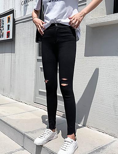 povoljno Tajice-Žene Osnovni Legging - Jednobojni, Naborano Visoki struk Crn M L