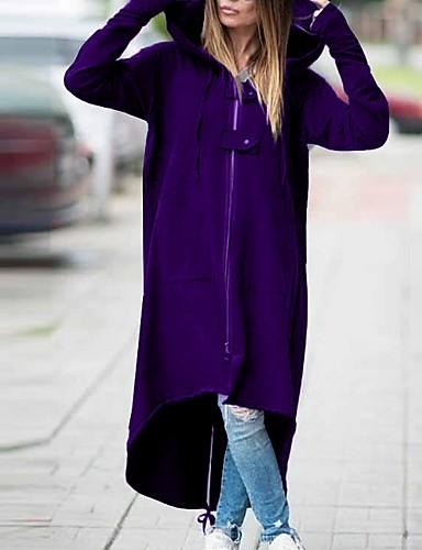 abordables Manteaux & Vestes Femme-Femme Quotidien Automne hiver Normal Manteau, Couleur Pleine Capuche Manches Longues Polyester Noir / Vin / Violet