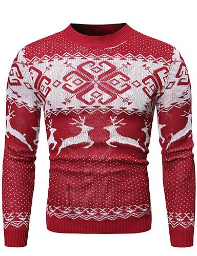 cheap Men's Clothing-Men's Animal Long Sleeve Pullover, Round Neck Fall / Winter Red / Navy Blue US34 / UK34 / EU42 / US36 / UK36 / EU44 / US38 / UK38 / EU46