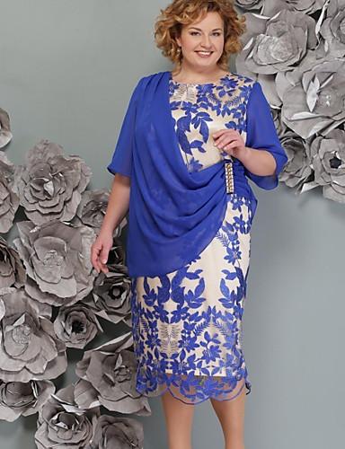 billige Blå kjoler-Dame Kroppstett Kjole Kjole - Geometrisk Midi