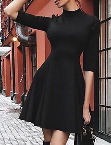 abordables Robes Femme-Femme Au dessus du genou Trapèze Robe Couleur Pleine Noir S M L Demi Manches