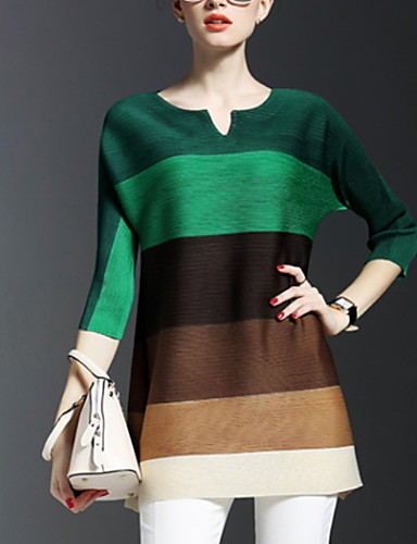 billige Topper til damer-T-skjorte Dame - Fargeblokk, Trykt mønster Lilla