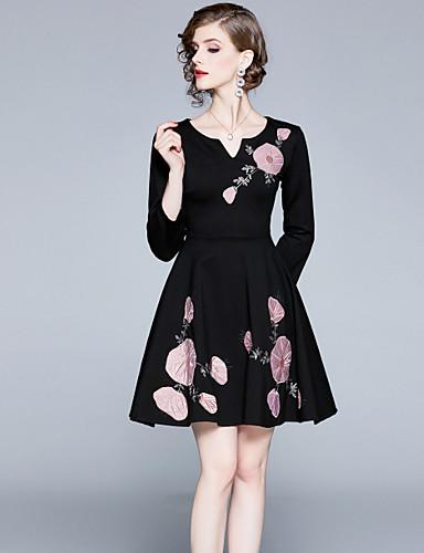 abordables Robes Femme-Femme Rétro Vintage Elégant Mini Trapèze Robe - Plissé Brodée, Fleur Noir S M L Manches Longues