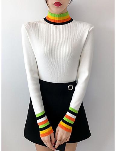 povoljno Ženske majice-Žene Jednobojni / Prugasti uzorak Dugih rukava Pullover Jesen / Zima Crn / Obala / žuta One-Size