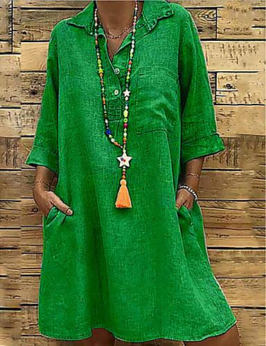 billige Kjoler-Dame Store størrelser Grunnleggende Løstsittende Skiftet Kjole - Ensfarget Skjortekrage Knelang