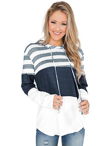 billige Dametopper-Bluse Dame - Stripet Grunnleggende BLå & Hvit Lyseblå