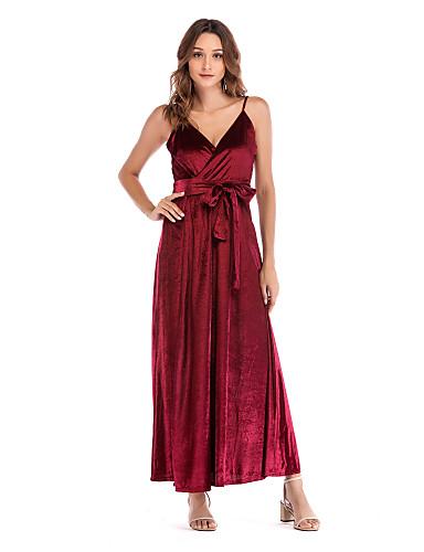 voordelige Maxi-jurken-Dames Boho A-lijn Jurk - Effen, Blote rug Maxi