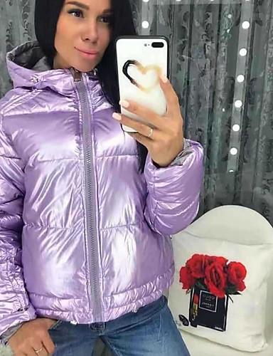 abordables Manteaux & Vestes Femme-Femme Couleur Pleine Rembourré, Polyester Noir / Violet / Rose Claire M / L / XL