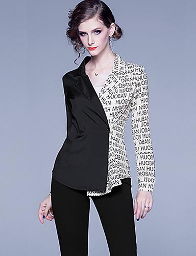 billige Dametopper-Skjorte Dame - Bokstaver, Lapper / Trykt mønster Forretning / Elegant Svart