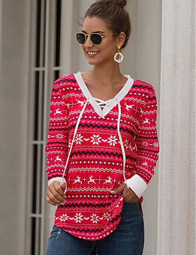 billige Topper til damer-T-skjorte Dame - Geometrisk Rød