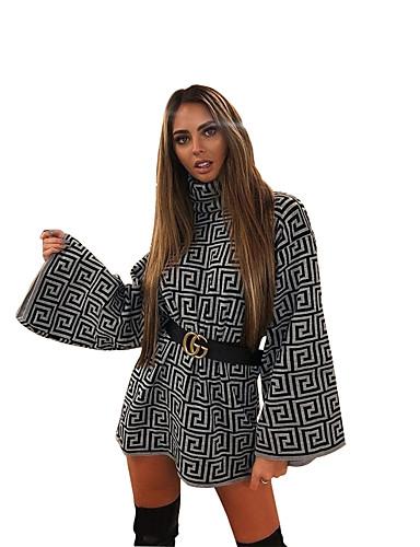 abordables Robes Femme-Femme Basique Chic de Rue Au dessus du genou Courte Robe - Imprimé, Géométrique Noir S M L Manches Longues