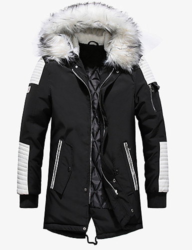 voordelige Heren donsjassen & parka's-Heren Kleurenblok Lang Gewatteerd, Imitatiebont / Polyester / Nylon Zwart / Rood / Marineblauw US32 / UK32 / EU40 / US34 / UK34 / EU42 / US36 / UK36 / EU44