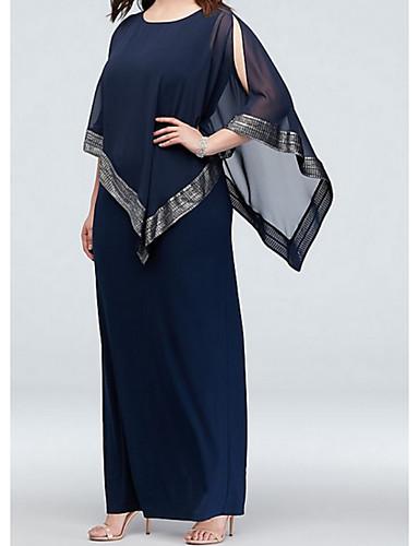 voordelige Wrap Dresses-A-lijn Met sieraad Tot de grond Chiffon Bruidsmoederjurken met Split voorzijde door LAN TING Express