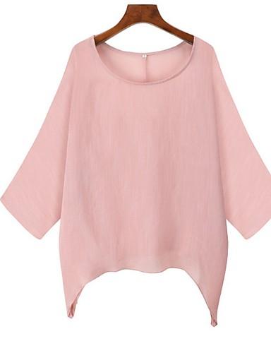 Χαμηλού Κόστους Γυναικείες Μπλούζες-Γυναικεία Μπλούζα Μονόχρωμο Ανθισμένο Ροζ