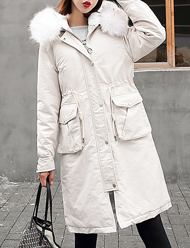voordelige Dames donsjassen & parka's-Dames Kleurenblok Lang Dons, Nylon Zwart / Wit / Blozend Roze M / L / XL