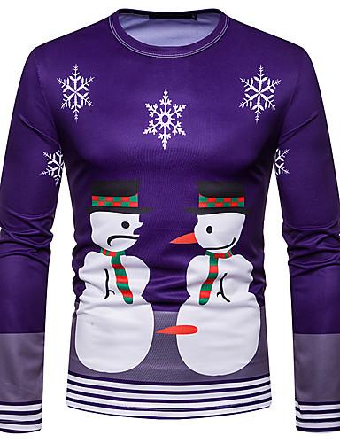 voordelige Heren T-shirts & tanktops-Heren Standaard Print T-shirt Geometrisch Kerstman Paars