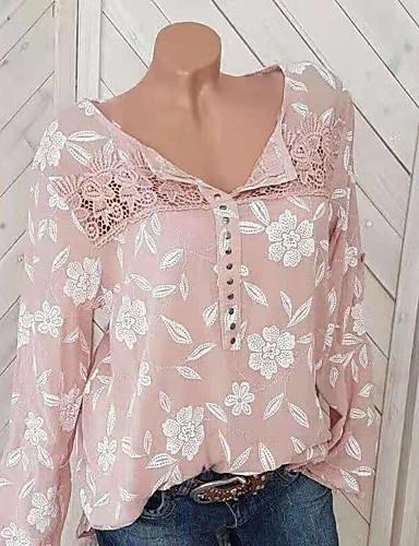 povoljno Majica-Majica Žene Grafika Širok kroj, Čipka / Zakovica / Kolaž Blushing Pink