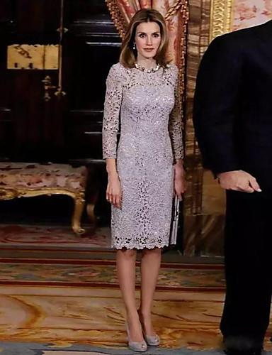 abordables Robes Femme-Femme Elégant Mi-long Gaine Robe - Dentelle, Géométrique Gris S M L Manches Longues