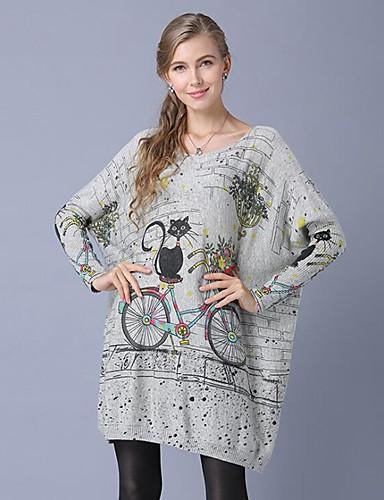 billige Dametopper-Dame Geometrisk / Abstrakt / Dyr Langermet Pullover, Løse skuldre Hvit / Grå / Kakifarget En Størrelse