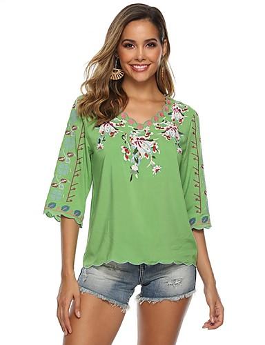abordables Hauts pour Femme-Tee-shirt Femme, Fleur Violet