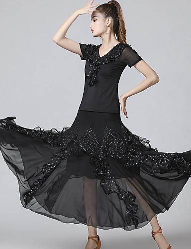 voordelige Shall We®-Ballroomdansen Outfits Dames Opleiding / Prestatie Netstof / Pailletten / Melkvezel Gelaagde ruches / Pailletten Korte mouw Natuurlijk Rokken / Top