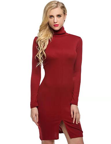 abordables Robes Femme-Femme Basique Mini Moulante Robe - Fendu, Couleur Pleine Noir Blanche Rouge S M L Manches Longues
