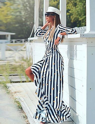 voordelige Maxi-jurken-Dames Schede Overhemd Jurk - Gestreept Maxi