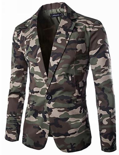 voordelige Herenblazers & kostuums-Heren Blazer Overhemdkraag Polyester Leger Groen / Grijs