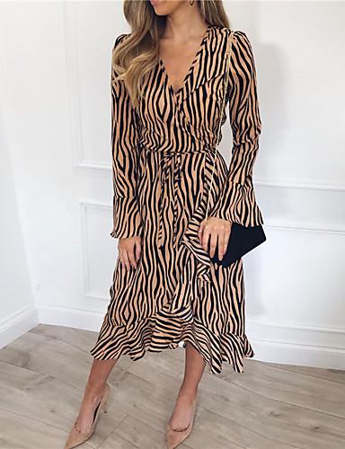 voordelige Maxi-jurken-Dames Schede Jurk - Luipaard Asymmetrisch
