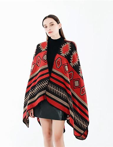 billige Skjerf til damer-Dame Aktiv / Grunnleggende Rektangulært skjerf Trykt mønster / Fargeblokk