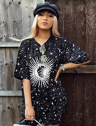 abordables Hauts pour Femmes-Tee-shirt Femme, Graphique Imprimé Basique Noir