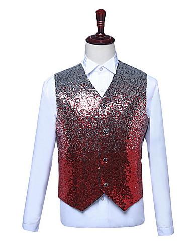 voordelige Herenblazers & kostuums-Heren Vest, Effen V-hals Polyester Fuchsia / blauw / Rood