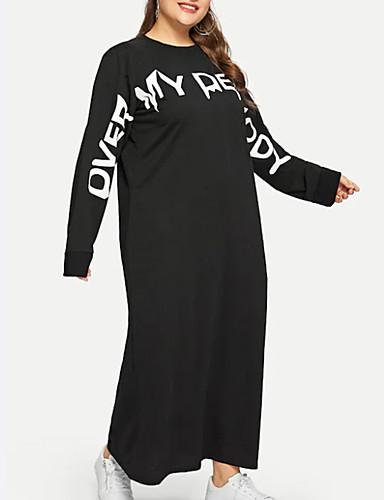 voordelige Grote maten jurken-Dames Street chic T Shirt Jurk - Effen Letter Boven de knie