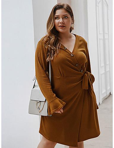 voordelige Grote maten jurken-Dames Standaard Elegant A-lijn Jurk - Effen, Veters Tot de knie