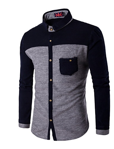 voordelige Herenoverhemden-Heren Standaard Overhemd Kleurenblok Lichtgrijs